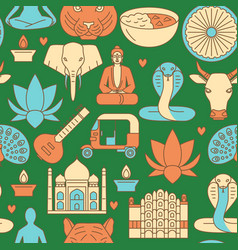 india seamless pattern in colored line style vector image