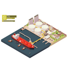 Isometric lng carrier bunkering in lng terminal vector