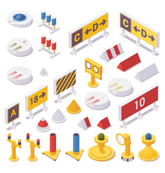 Isometric set airport lights taxiway signs vector