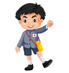 japanese boy in kindergarten outfit vector image