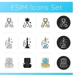 Laboratory instruments icons set vector
