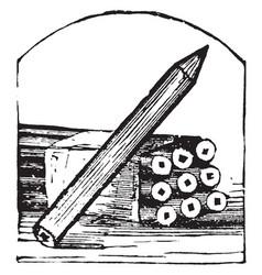 Lead pencil pens vintage engraving vector