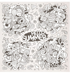 Line art set of summer doodle designs vector