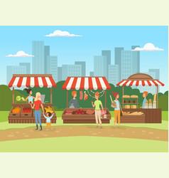 Local market food outdoor places in urban vector