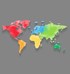 Low poly map of world divided into six continents vector