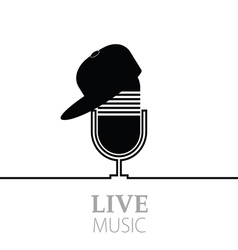 Microphone with live music vector