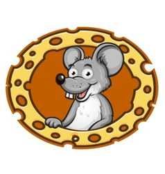 Mouse with cheese frame vector image