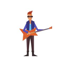 Music pop or rock guitarist singer cartoon boy vector