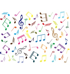 Musical notes colored background vector image