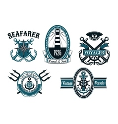 Nautical seafarer voyager and anchors symbols vector