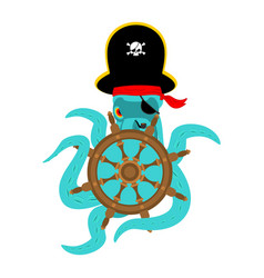 octopus pirate and handwheel poulpe buccaneer and vector image