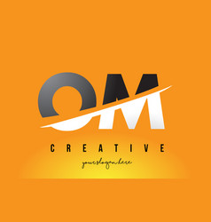 Om o m letter modern logo design with yellow vector