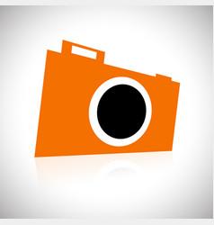 Orange camera symbol tilted in 3d vector