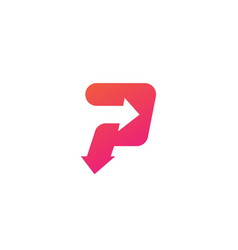 p letter logo arrow icon vector image