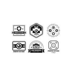 Photo studio logo set photography black retro vector
