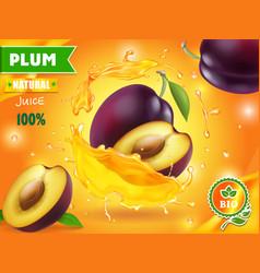 Plum juice advertising design with juice splah vector