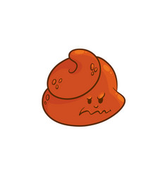 poop cartoon character - angry emoticon of poo vector image