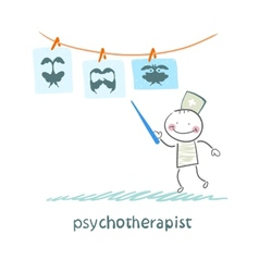 psychotherapist shows a picture test and standing vector image