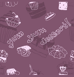 purple seamless pattern doodle pastry sweets vector image