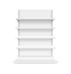 realistic detailed 3d white blank store shelves vector image