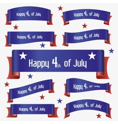 Red and blue curved independence day ribbon vector
