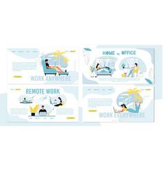 Remote freelance work vs office job occupation set vector