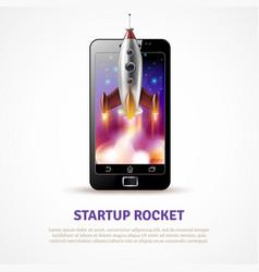 Rocket startup poster vector