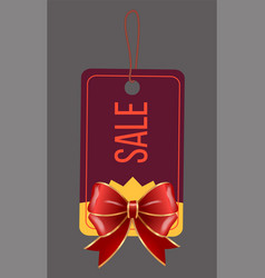 Sale with discount caption on tag with red bow vector