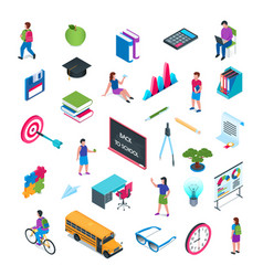 school and education isometric icon set 02 vector image