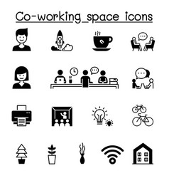 set co-working space startup related icons vector image