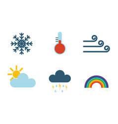 set of climate forecast weather icons vector image