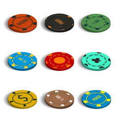 Set of different casino chips in 3d vector