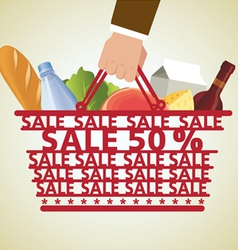 Shopping Basket and Food vector