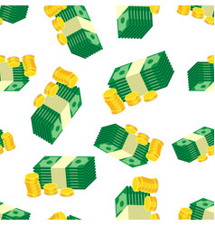 stacks of gold coins and dollar cash seamless vector image