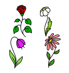 Stock set of four flowers vector