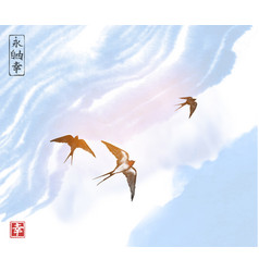 Swallow birds in blue sky traditional japanese vector