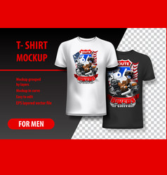 T-shirt template fully editable with bikers vector