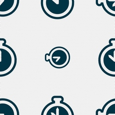 The stopwatch icon sign Seamless pattern with vector image