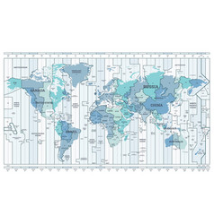 time zone blue map detailed world map with vector image