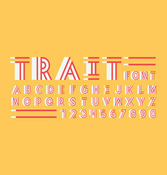 trait shadow font alphabet vector image