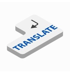 Translate button icon isometric 3d style vector image