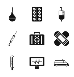 Treatment icons set simple style vector