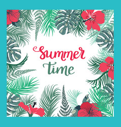 tropical background with summer time text vector image