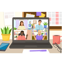 video conference landing online business vector image