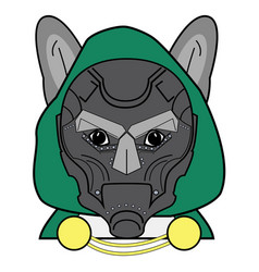 Villain symbol with hood metal mask and cape vector