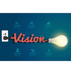 Vision concept with creative light bulb idea vector image