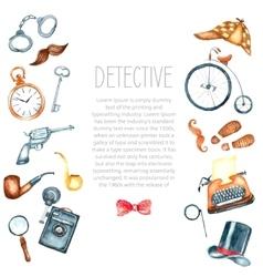 Watercolor retro detective accessories vector