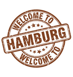 Welcome to hamburg brown round vintage stamp vector
