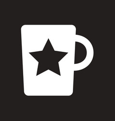 White icon on black background cup with vector