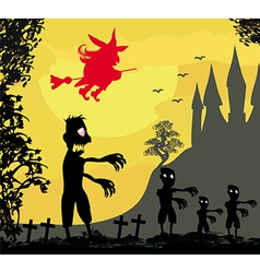 Zombie attacks - funny card for Halloween vector
